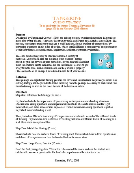 Collaborative Teaching Lesson Plan Template ~ Tangerine cubing strategy lesson plan for th grade