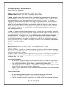 Huckleberry finn lesson plans worksheets reviewed by for Socratic seminar lesson plan template