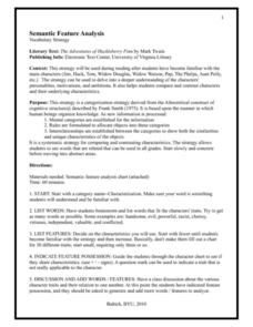 The Adventures of Huckleberry Finn: Semantic Feature Analysis Lesson Plan
