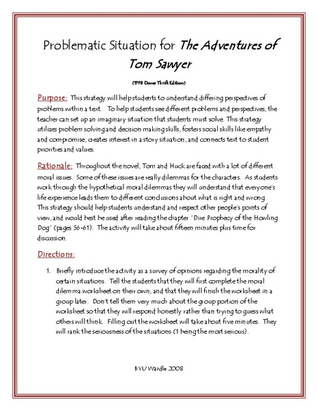 The Adventures of Tom Sawyer: Problematic Situation Lesson Plan