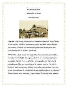 The Grapes of Wrath: Vocabulary Activity Lesson Plan