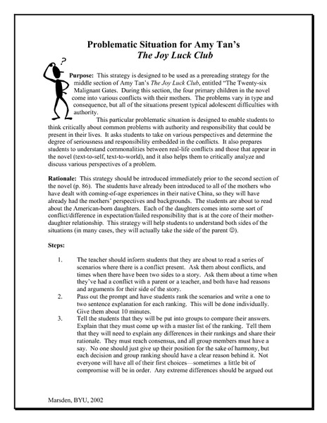 the joy luck club problematic situation th th grade lesson  the joy luck club problematic situation 9th 12th grade lesson plan lesson planet