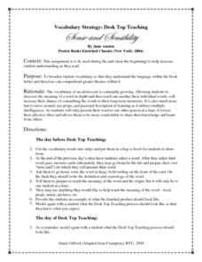 Sense and Sensibility Vocabulary Strategy: Desk Top Teaching Worksheet