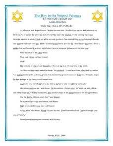 The Boy in the Striped Pajamas: Cloze Procedure  Worksheet