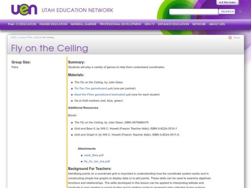 Fly on the Ceiling Lesson Plan