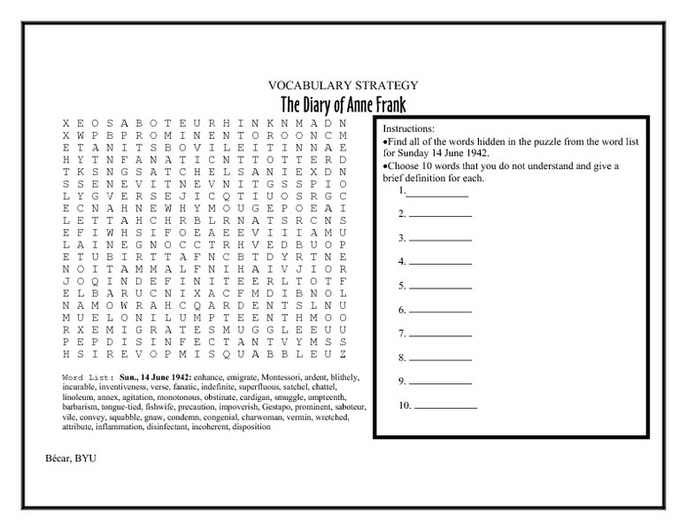 Vocabulary Strategy The Diary Of Anne Frank Worksheet