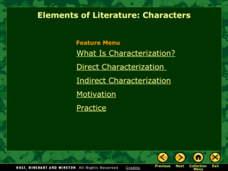 Elements of Literature: Characterization Presentation