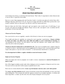 About Your Heart and Exercise Worksheet