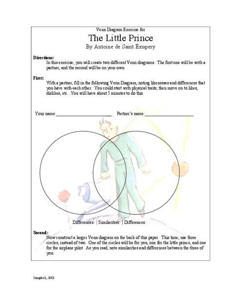 The Little Prince Venn Diagram Exercise Activities Project For