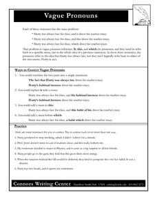 Vague Pronouns Worksheet for 7th - 12th Grade | Lesson Planet