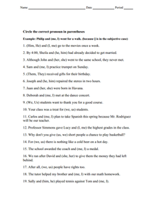 Pronoun Selection: Nominative, Objective, and Possessive Worksheet