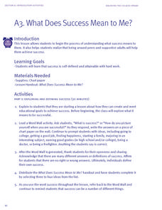 What Does Success Mean to Me? Lesson Plan