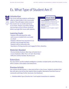 What Types of Student Am I? Lesson Plan