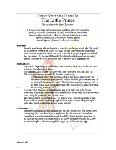 The Little Prince: Socratic Questioning Strategy Lesson Plan
