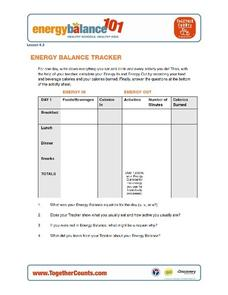 Energy Balance Tracker Graphic Organizer
