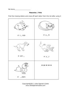 Mascotas: Missing Letters Worksheet
