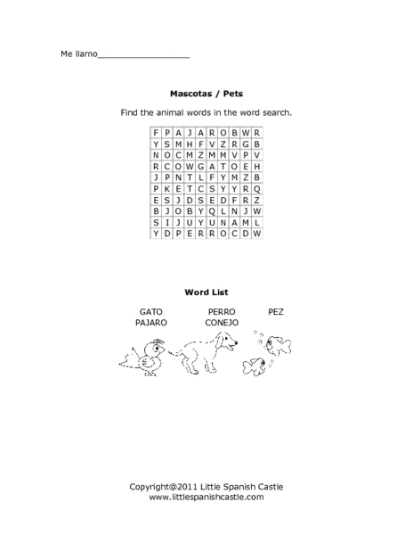 Word Search: Mascotas/ Pets Worksheet