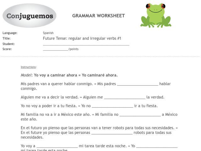Future Tense: Regular And Irregular Verbs #1 Worksheet For 9th - 11th Grade  Lesson Planet