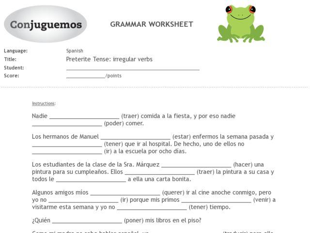 Collection of Spanish Irregular Preterite Worksheet Sharebrowse – Spanish Preterite Worksheet