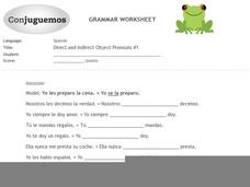 Direct and Indirect Object Pronouns #1 Worksheet