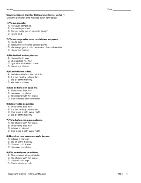 reflexive verbs 1 worksheet for 8th 9th grade lesson planet. Black Bedroom Furniture Sets. Home Design Ideas