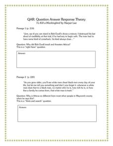 Question Answer Response Theory: To Kill a Mockingbird Graphic Organizer