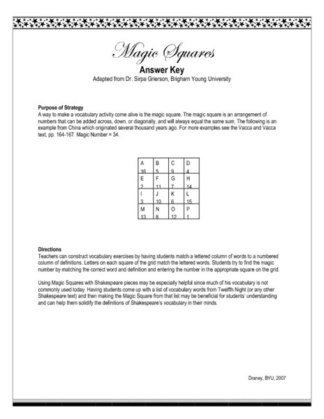 Twelfth Night Magic Square Worksheet