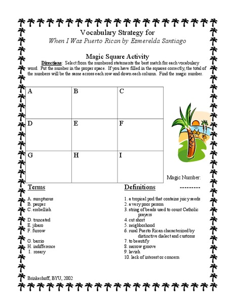 When I Was Puerto Rican: Vocabulary Strategy Lesson Plan