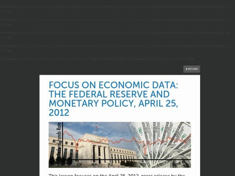 Focus on Economic Data: The Federal Reserve and Monetary Policy, April 25, 2012 Lesson Plan