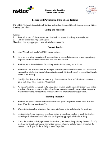 Leisure Skill Participation Using Choice Training Lesson Plan