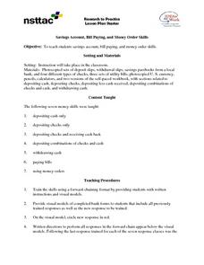 Savings Account, Bill Paying, and Money Order Skills Lesson Plan