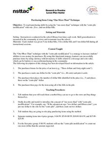 "Purchasing Items Using ""One-More-Than"" Technique Lesson Plan"