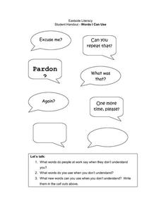 Student Handout - Words I Can Use Worksheet