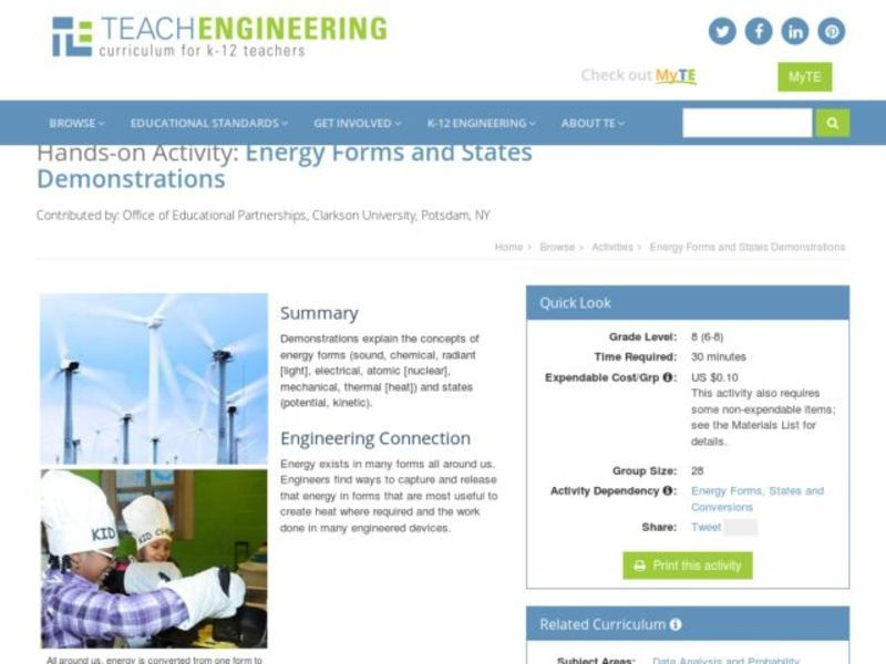 Energy Forms and States Demonstrations Activities & Project