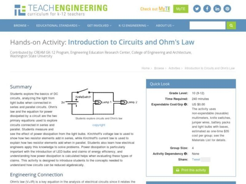 Introduction to Circuits and Ohm's Law Lesson Plan