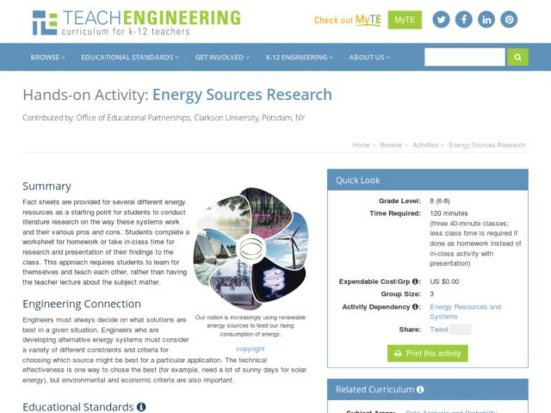 Energy Sources Research Activities & Project