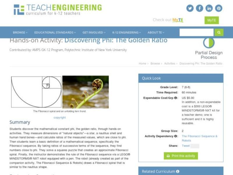 Discovering Phi: The Golden Ratio Lesson Plan