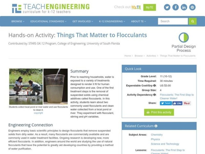Things That Matter to Flocculants Lesson Plan