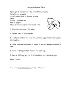 Ham and Cheese Puffs Worksheet