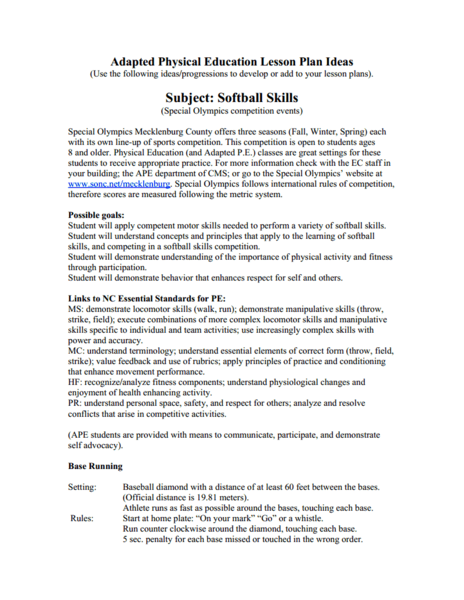 Adapted Physical Education Lesson Plan Ideas: Softball Skills Lesson Plan