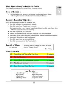 Black Tiger Academy Martial Arts Fitness Unit – Lesson 6 Lesson Plan