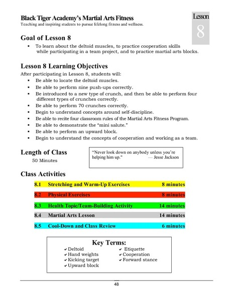 Black Tiger Academy Martial Arts Fitness Unit – Lesson 8 Lesson Plan