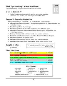 Black Tiger Academy Martial Arts Fitness Unit – Lesson 10 Lesson Plan