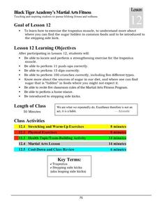 Black Tiger Academy Martial Arts Fitness Unit – Lesson 12 Lesson Plan