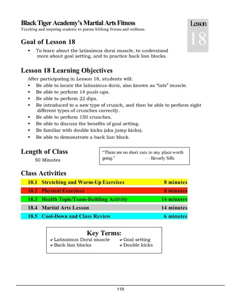 Black Tiger Academy Martial Arts Fitness Unit – Lesson 18 Lesson Plan