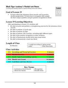 Black Tiger Academy Martial Arts Fitness Unit - Lesson 19 Lesson Plan