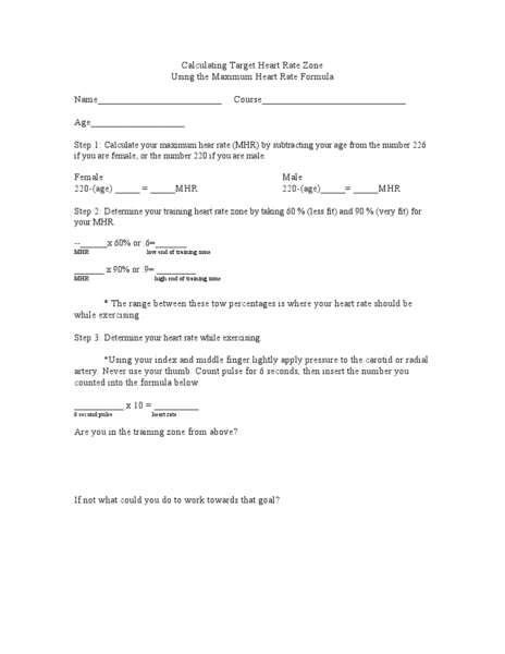 Calculating Target Heart Rate Zone Worksheet For 6th 9th Grade