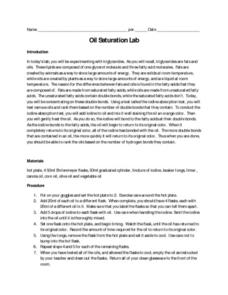 Oil Saturation Lab Worksheet