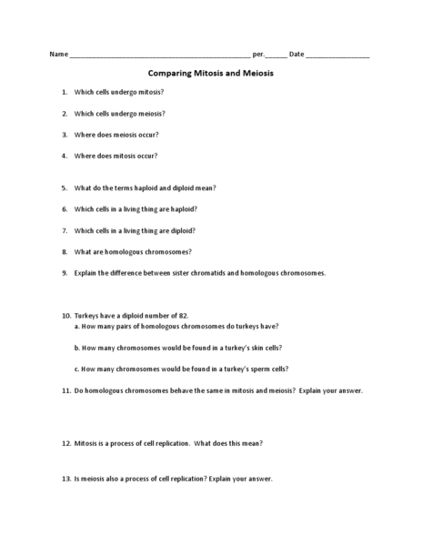 Comparing Mitosis and Meiosis 9th - 12th Grade Worksheet | Lesson ...