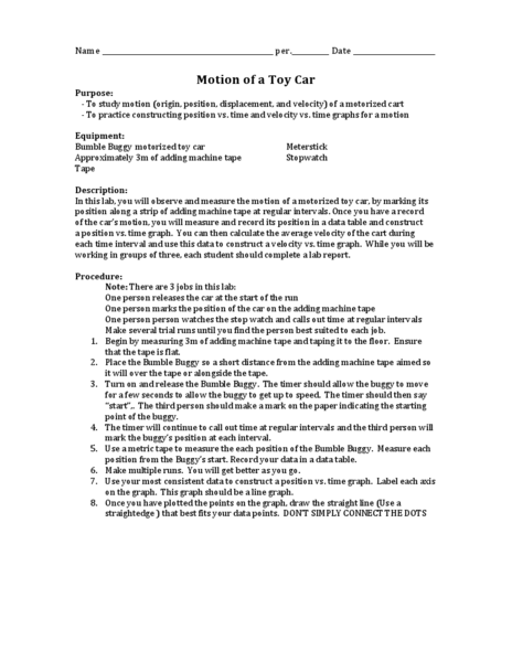 Motion of a Toy Car Worksheet